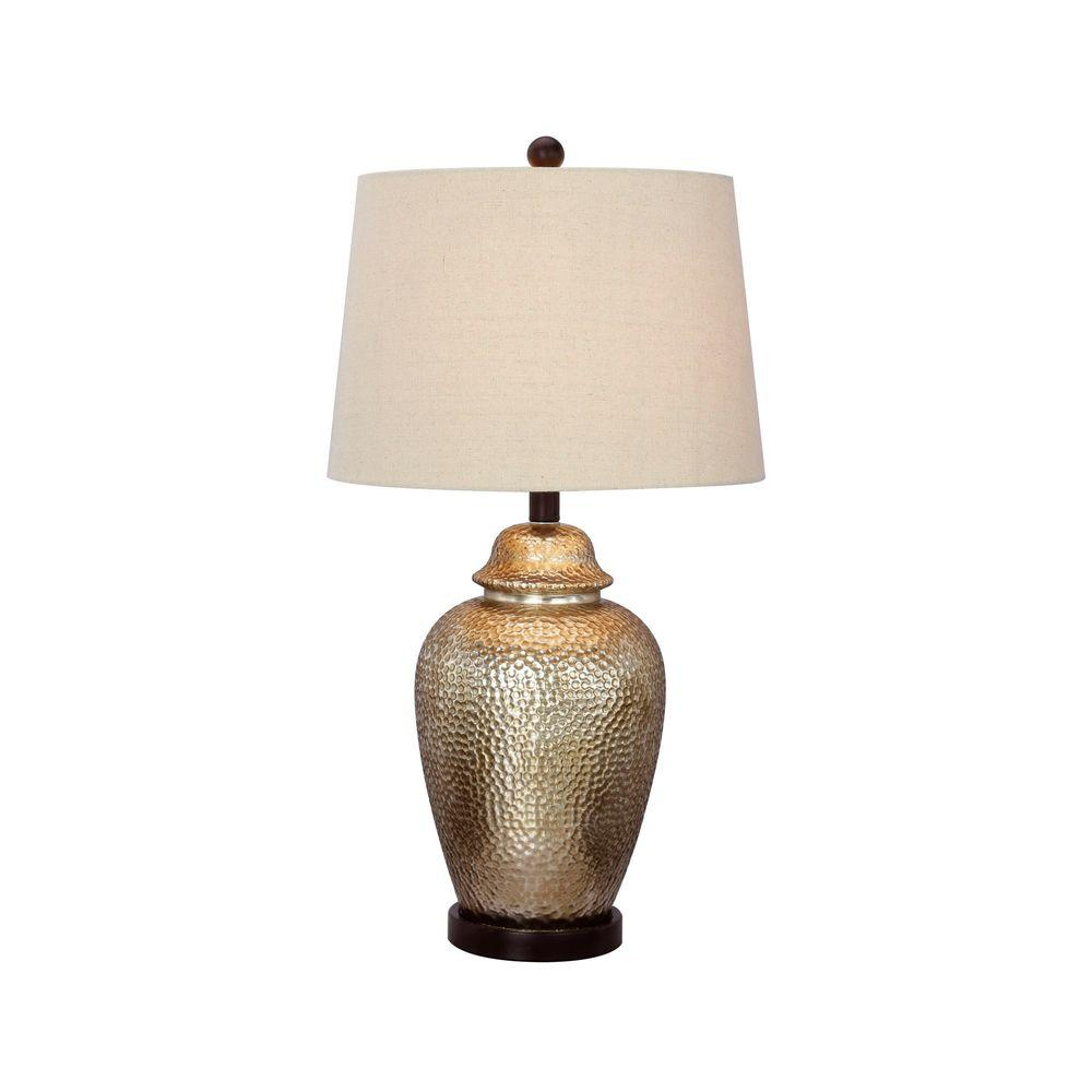 Fangio Lighting 27.5 in. Antique Brown Mercury Glass and Oil-Rubbed Bronze Metal Table Lamp