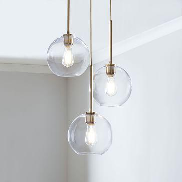 Sculptural Glass 3-Light Round Globe Chand0lier, , Gold Ombre Shade, Brass Canopy