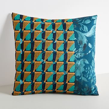 """Embroidered Geo Floral Pillow Cover, Blue Slate, 18""""x18"""""""