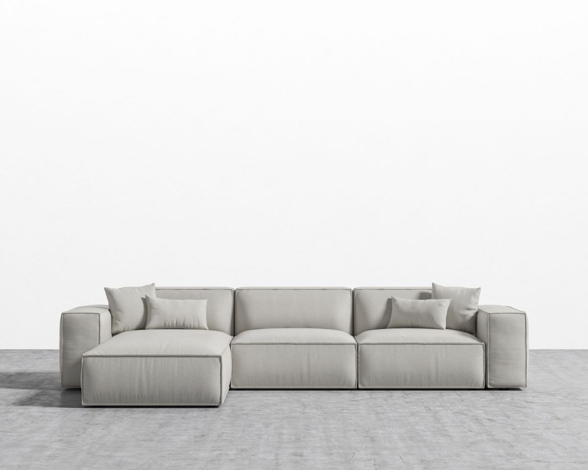Porter Sectional - Oyster Black Plastic Left-hand-facing