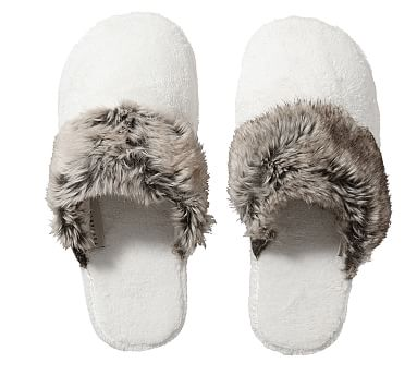 Faux Fur Slippers, Medium, Gray Ombre