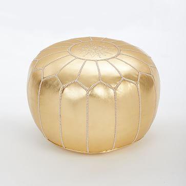 """Moroccan Pouf, Gold, 20""""x14"""""""