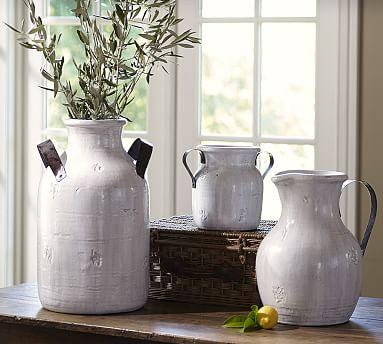 Marlowe Ceramic Urn, White - Small