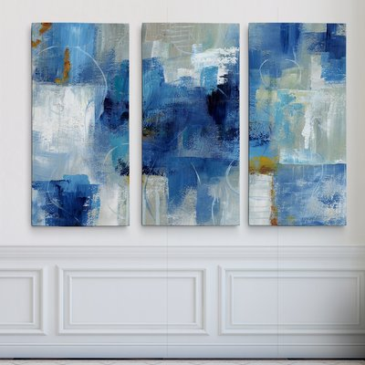 'Blue Morning' Acrylic Painting Print Multi-Piece Image on Gallery Wrapped Canvas
