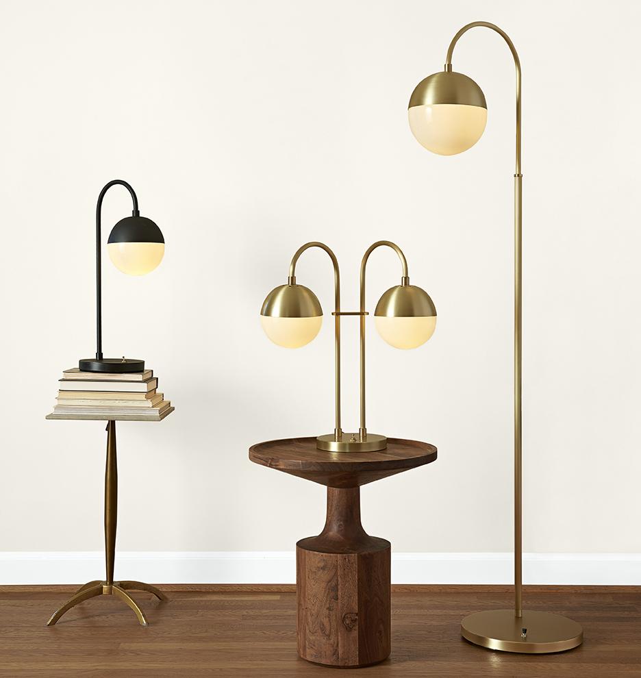 CEDAR & MOSS FLOOR LAMP - BRUSHED SATIN