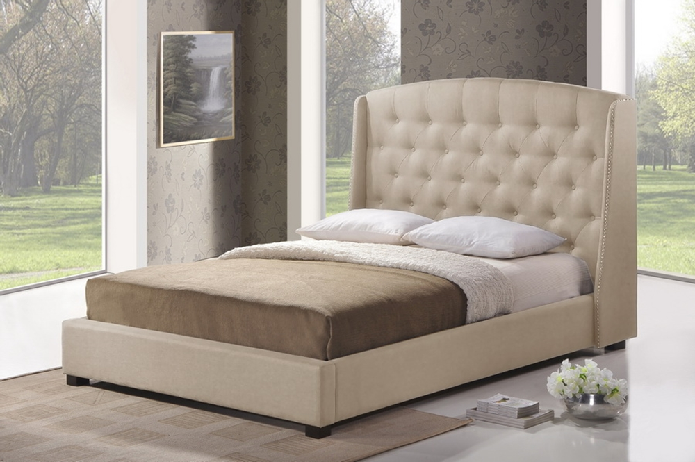 ipswich light beige linen modern platform bed