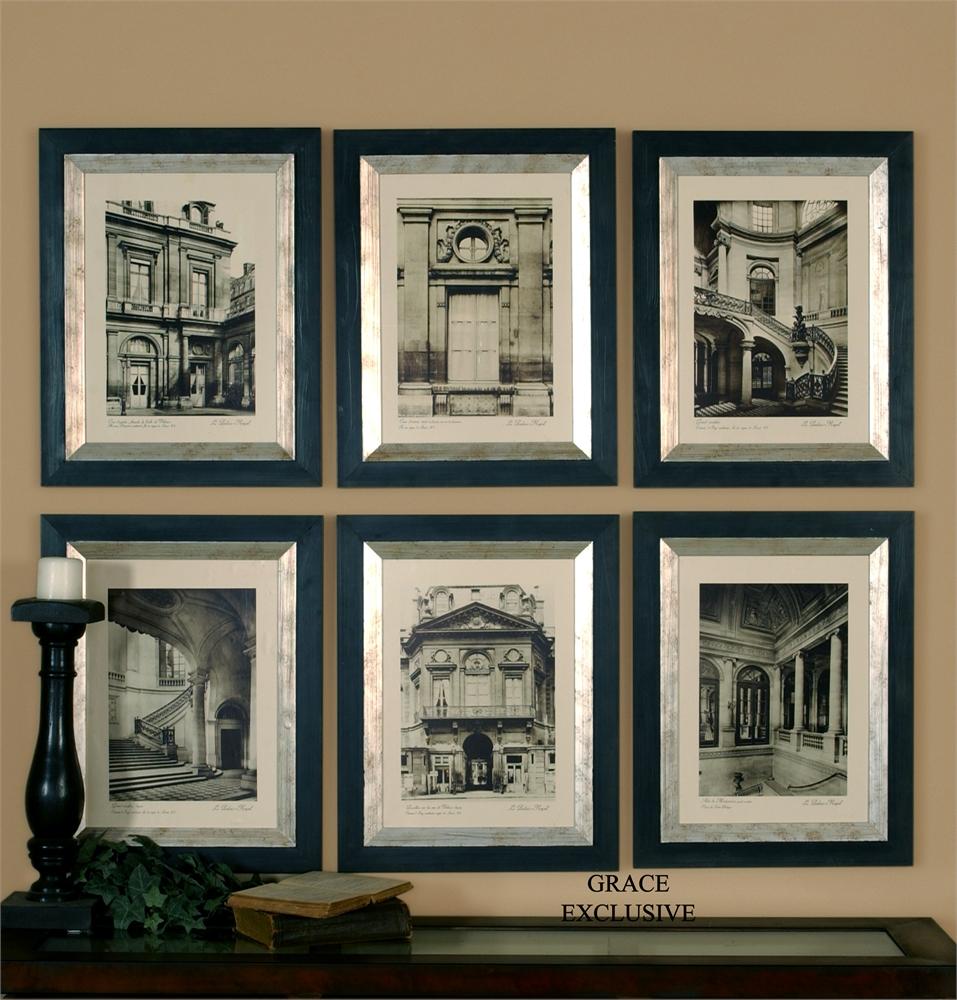 Paris Scene I, II, III, IV, V, VI, S - 19 W X 24 H X 1 D - Black / Silver Frame - Mat