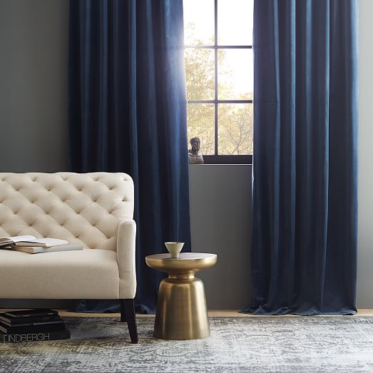 Velvet Pole Pocket Curtain - Regal Blue - Set of 2 - Unlined - 108""