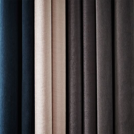 "Velvet Pole Pocket Curtain - Unlined, Set of 2, 96""L"