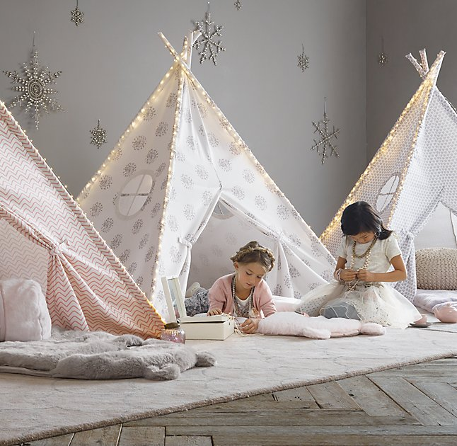 PRINTED CANVAS TEEPEE TENT-Dandelion-Grey- Small
