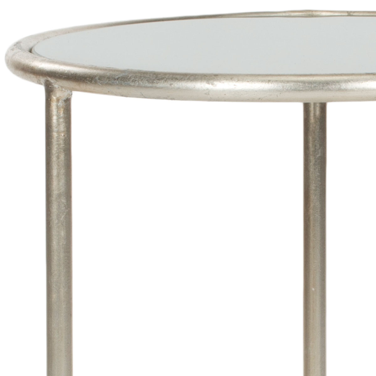 Shay Glass Top Silver Accent Table