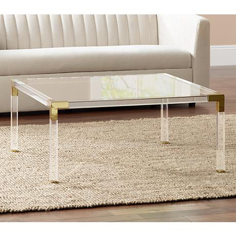 Erica Square Clear Acrylic Coffee Table With Gold Corners By - Acrylic coffee table