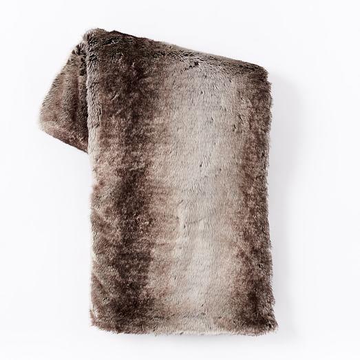 Faux Fur Ombre Throw - Mocha