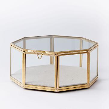 glass shadow box large hexagon