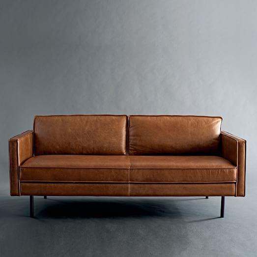 """Axel 89"""" Sofa - Leather - Saddle"""