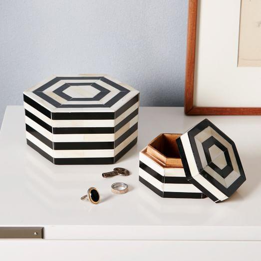 Black + White Striped Boxes -  Small