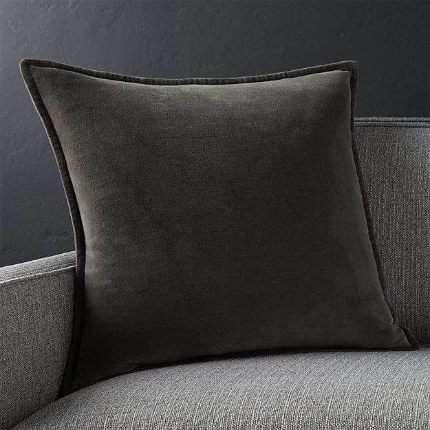 """Brenner Grey 20"""" Velvet Pillow With Down-Alternative Insert"""