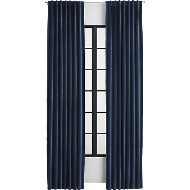Velvet curtain panel Midnight Blue- 84""