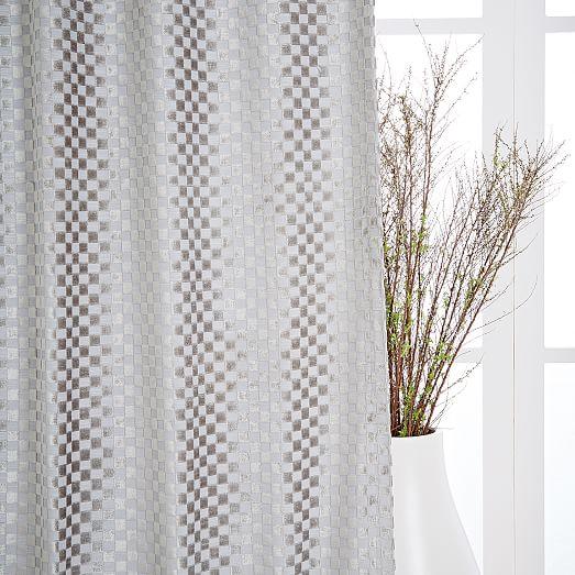 "Flocked Woven Squares Curtain + Blackout Panel, Platinum, 48""x96"""