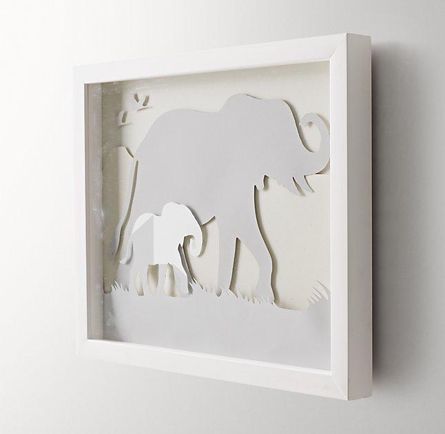 "Animal Silhouette Art - Elephant -  15"" x 12¼"" - White Frame"
