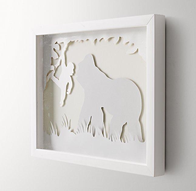"Animal Silhouette Art - Gorilla - 15""W x 12¼""H - White Frame - No Mat"