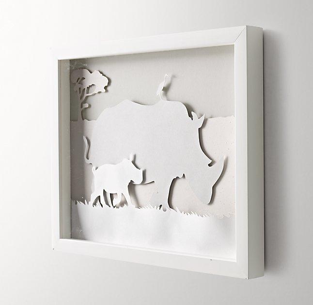 "Animal Silhouette Art - Rhino - 15""W x 12¼""H - White Frame - No Mat"