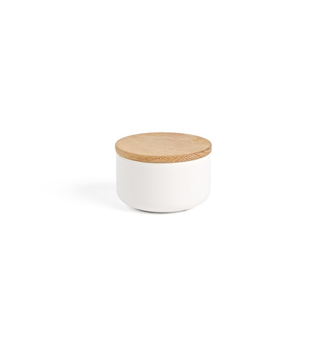 White Small Canister with Wood Lid