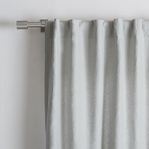 """Belgian Flax Linen Curtain - Platinum - Unlined - 48"""" x 96"""""""
