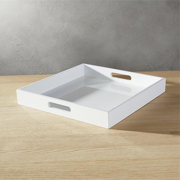 High-Gloss Square White Tray