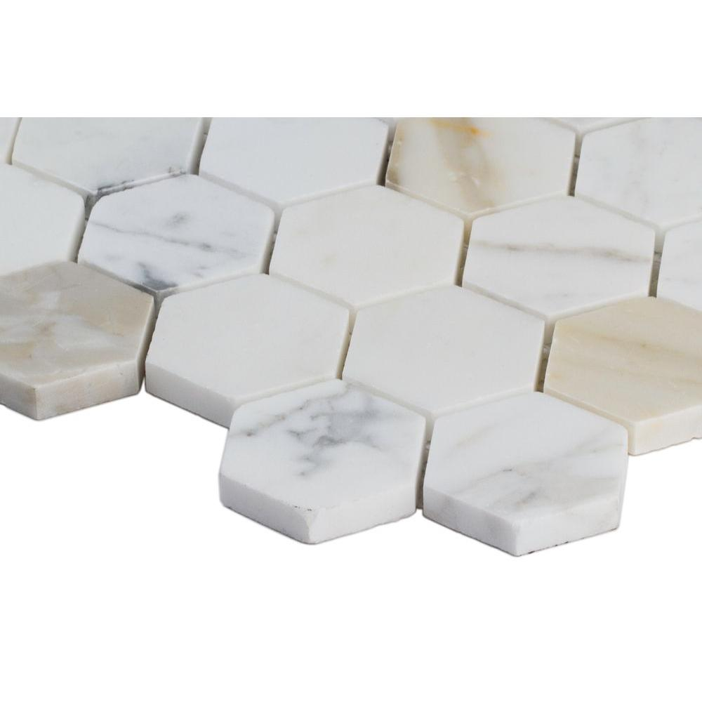 Calacatta Gold Hexagon Polished Marble Mesh-Mounted Mosaic Tile