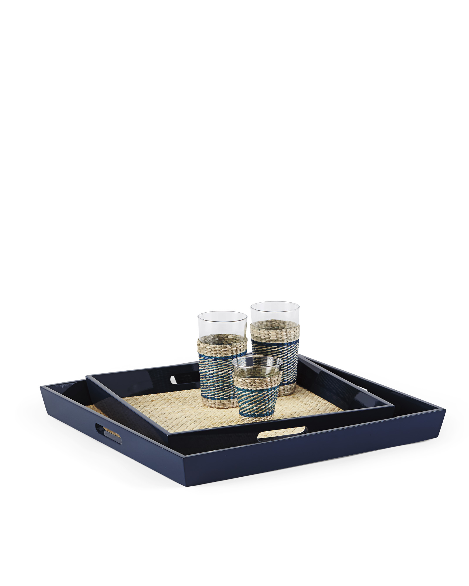 """Lacquer Rattan Tray - Navy - 20"""" Sq"""