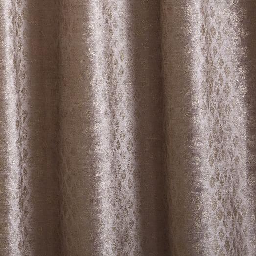 """Luster Velvet Metallic Diamond Curtain - GOLD - 84"""""""