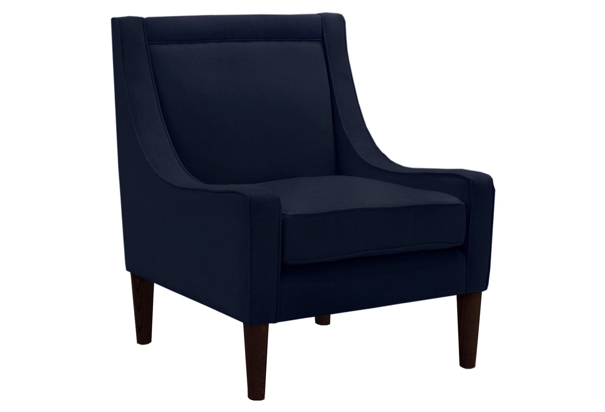 Mccarthy Swoop arm Chair Handcrafted Navy Linen by e Kings