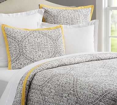 Clarissa Printed Quilt, Full/queen, Gray/yellow... by Pottery Barn ... : yellow and gray quilt - Adamdwight.com