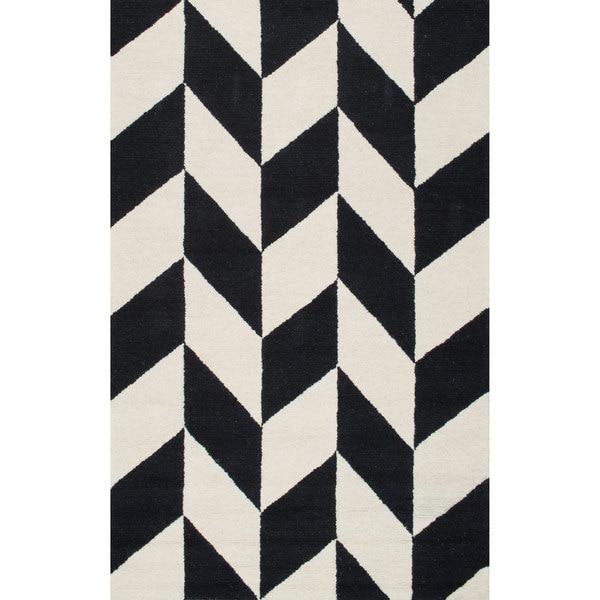 nuloom handmade mod tiles wool black and white rug