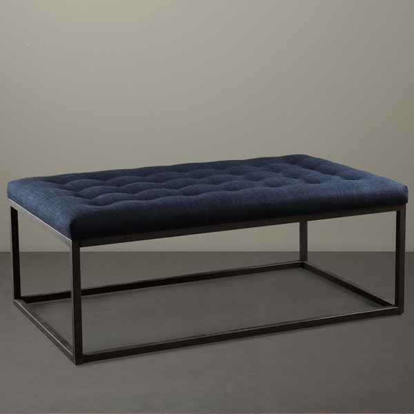 renate navy linen coffee table ottomanoverstock | havenly
