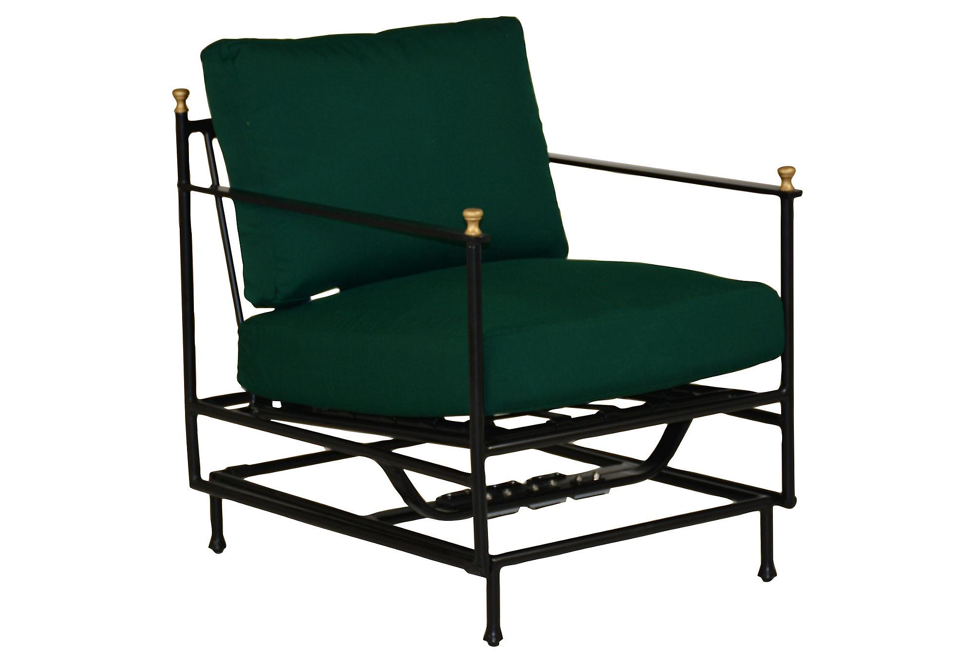 Frances Motion Lounge Chair, Green Sunbrella