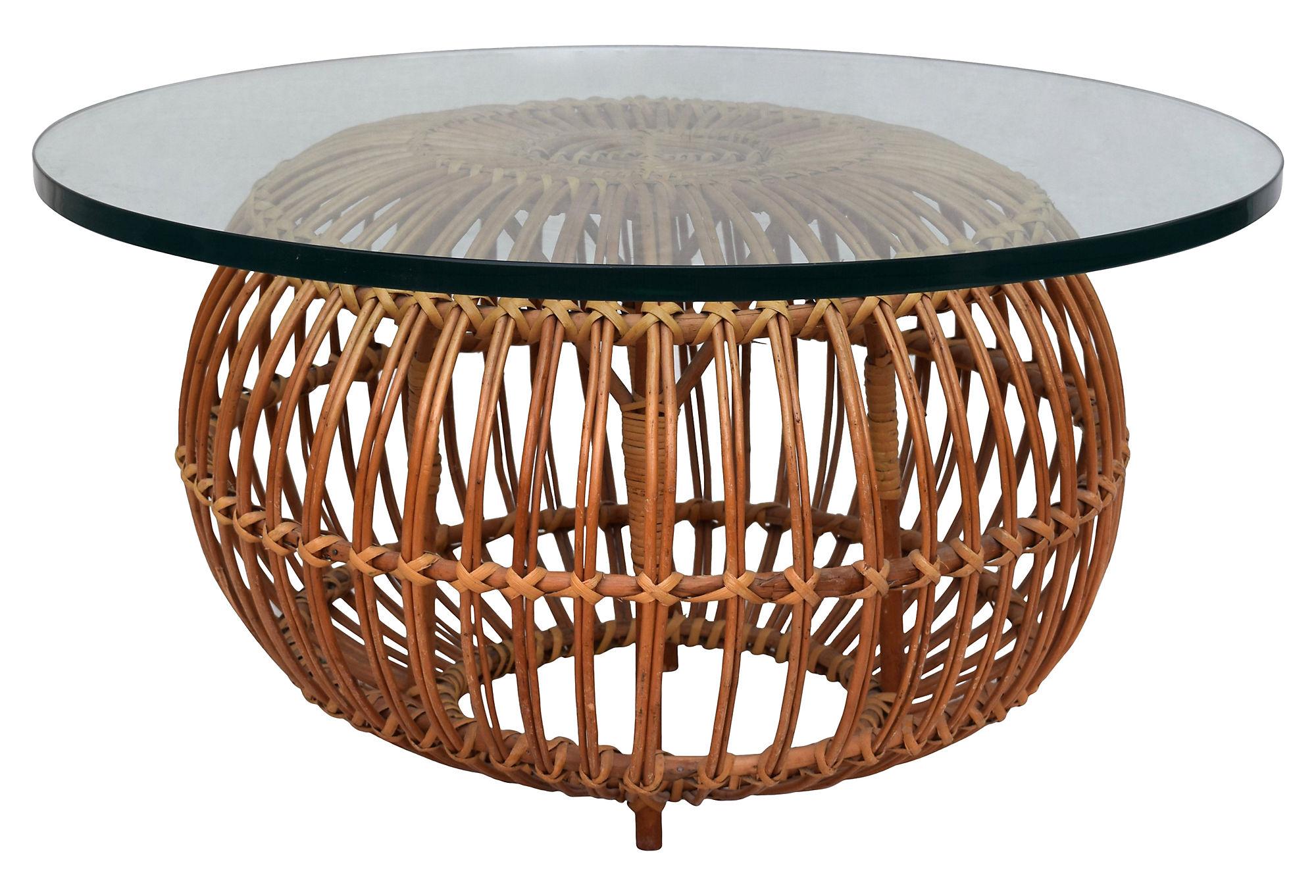 Franco Albini Rattan/Glass Coffee Table
