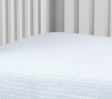 Organic Baby Chevron Sateen Crib Fitted Sheet, Gray