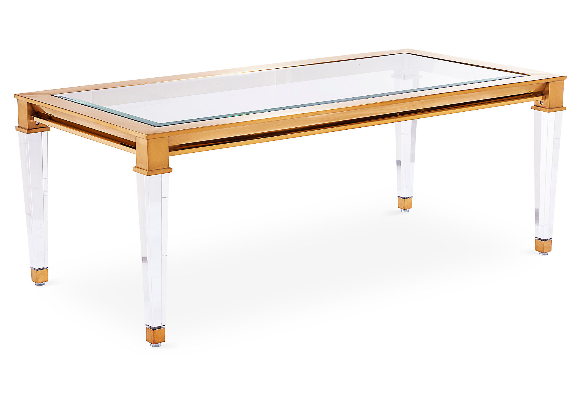 Erica Square Clear Acrylic Coffee Table With Gold Corners by