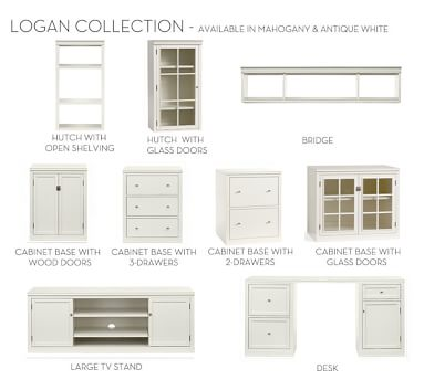 """Logan Cabinet Base With Wood Doors 24"""", Antique White"""