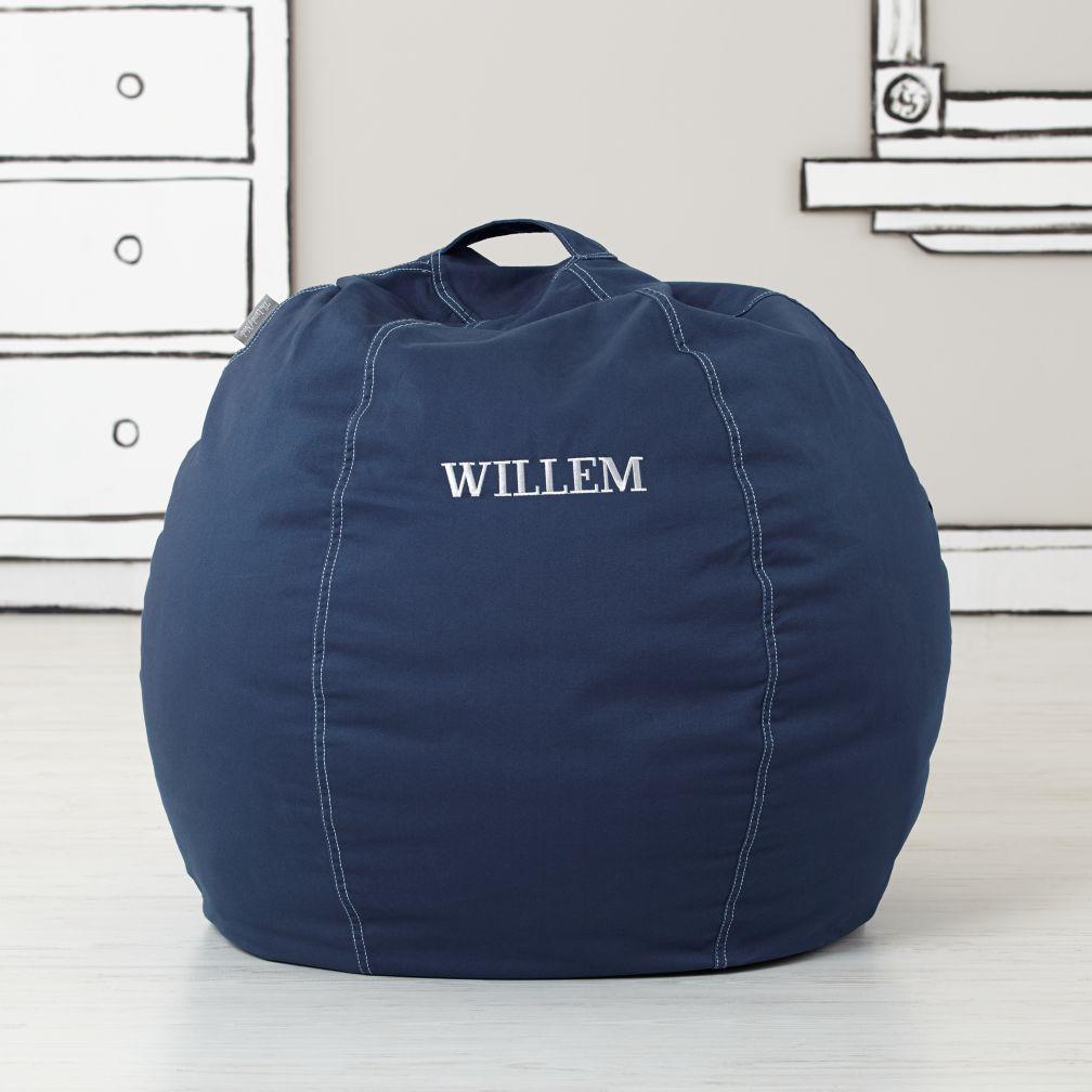 Small Personalized Dark Bean Bag Chair Blue