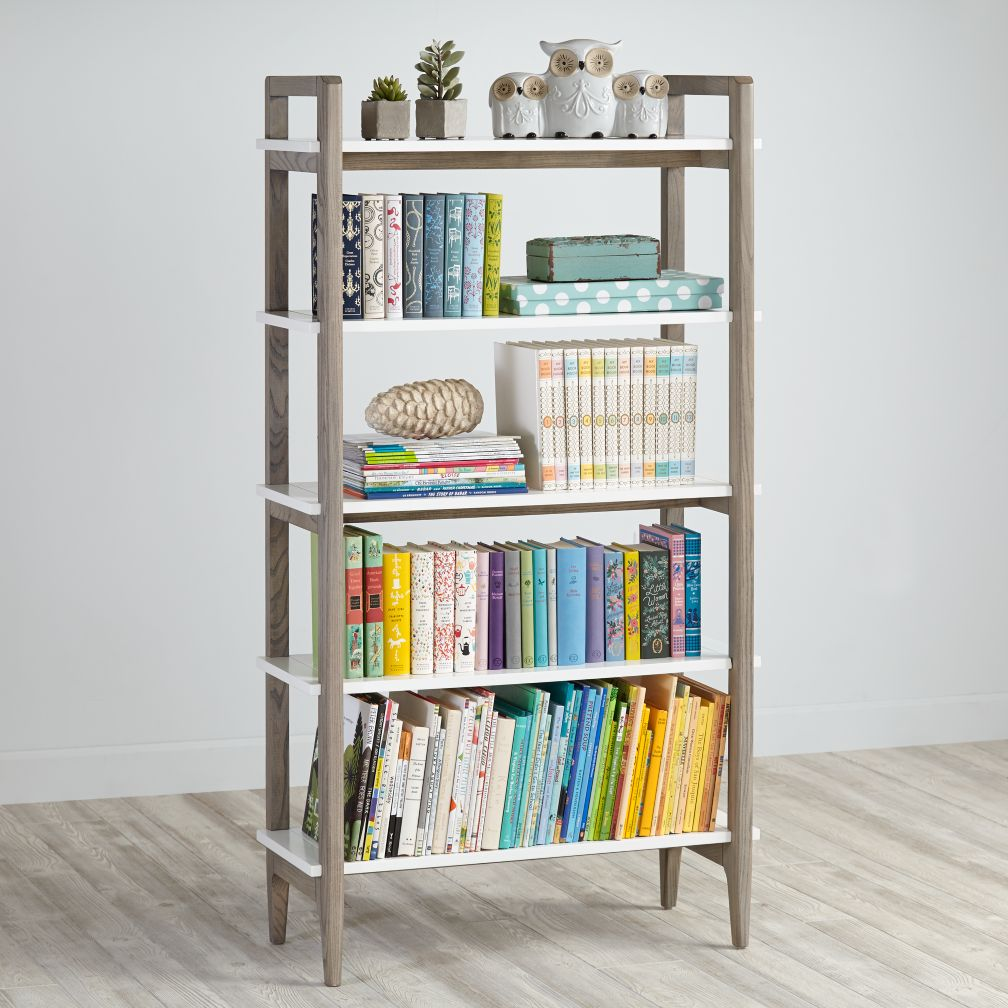 Chateau bookcase walnut leaning bookcase white modern bookcase walnut - Wrightwood Stain And White Bookcase Grey
