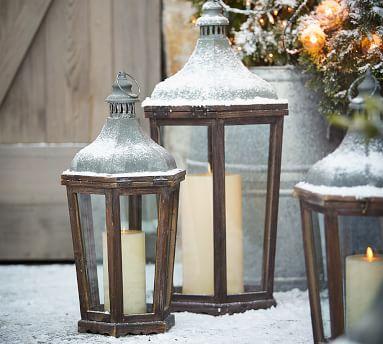 "Park Hill Lantern, Wood - Medium 24"""