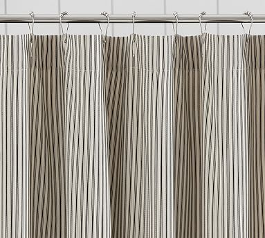 black and white striped shower curtain. Ruffled Ticking Stripe Shower Curtain  Black almond by Pottery Barn Havenly