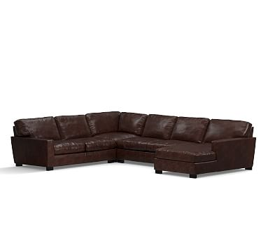 Turner Square Arm Leather Left Arm 4 Piece Chaise Sectional, Down Blend  Wrapped Cushions