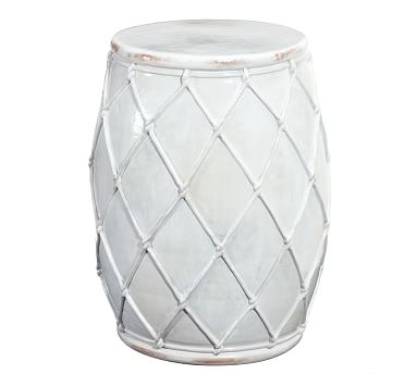 Net Ceramic Accent Table, Ivory