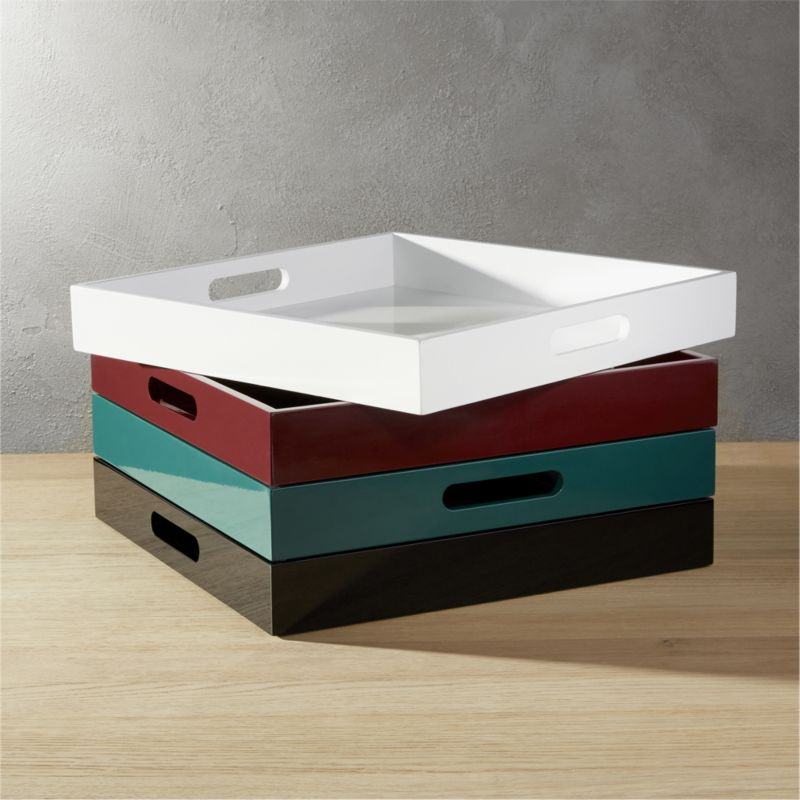 hi-gloss square black tray
