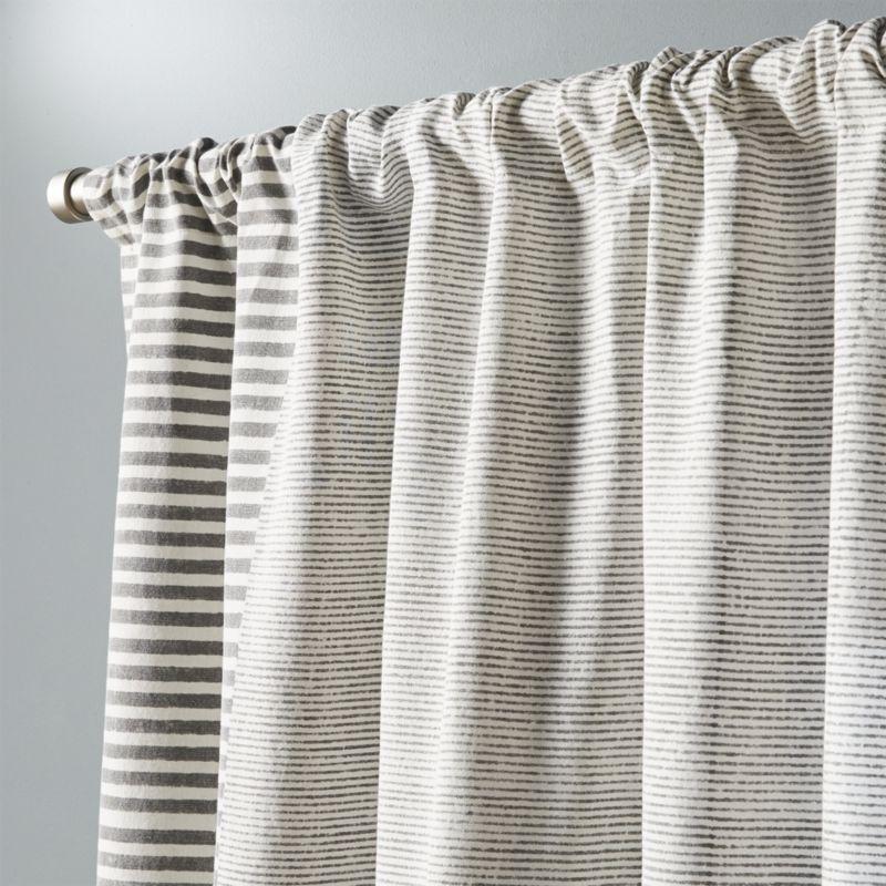 "Block printed stripe curtain panel 48""x96"""