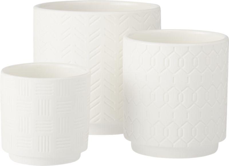 3-piece white loom planter set